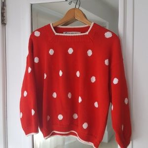 Sweaters - Vintage Red Polka Dot Sweater